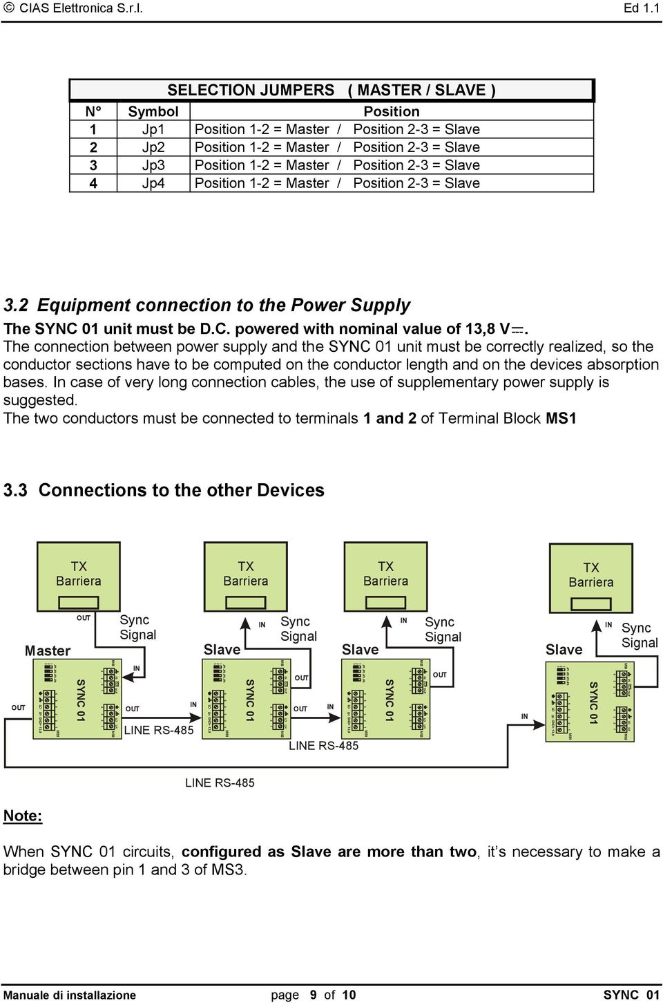 - = Master / Position - = Slave. Equipment connection to the Power Supply The SYNC 0 unit must be D.C. powered with nominal value of,8 V.