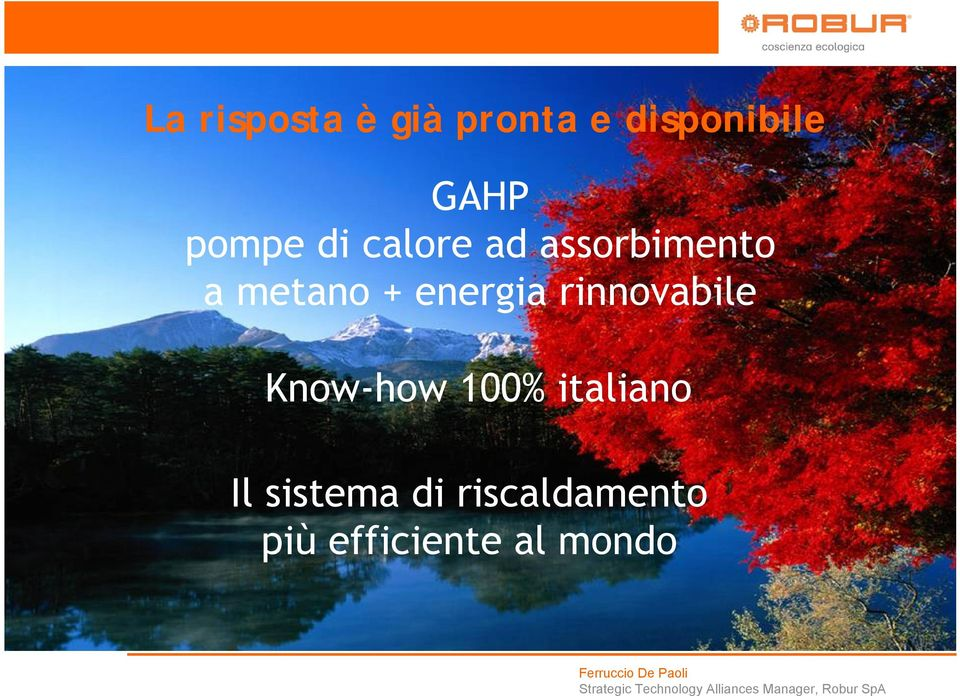 energia rinnovabile Know-how 100% italiano Il