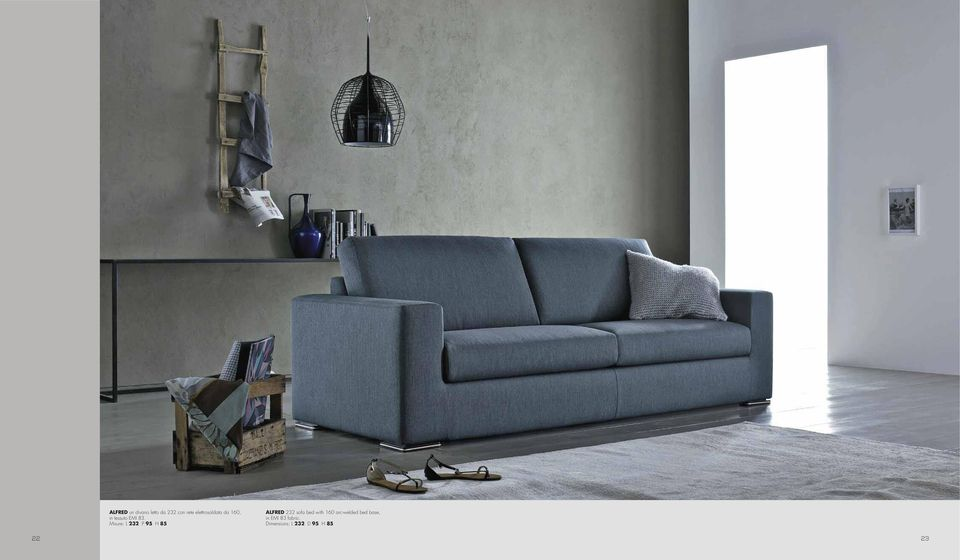 Misure: L 232 P 95 H 85 ALFRED 232 sofa bed with