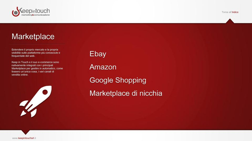 Keep in Touch e il suo e-commerce sono nativamente integrati con i principali