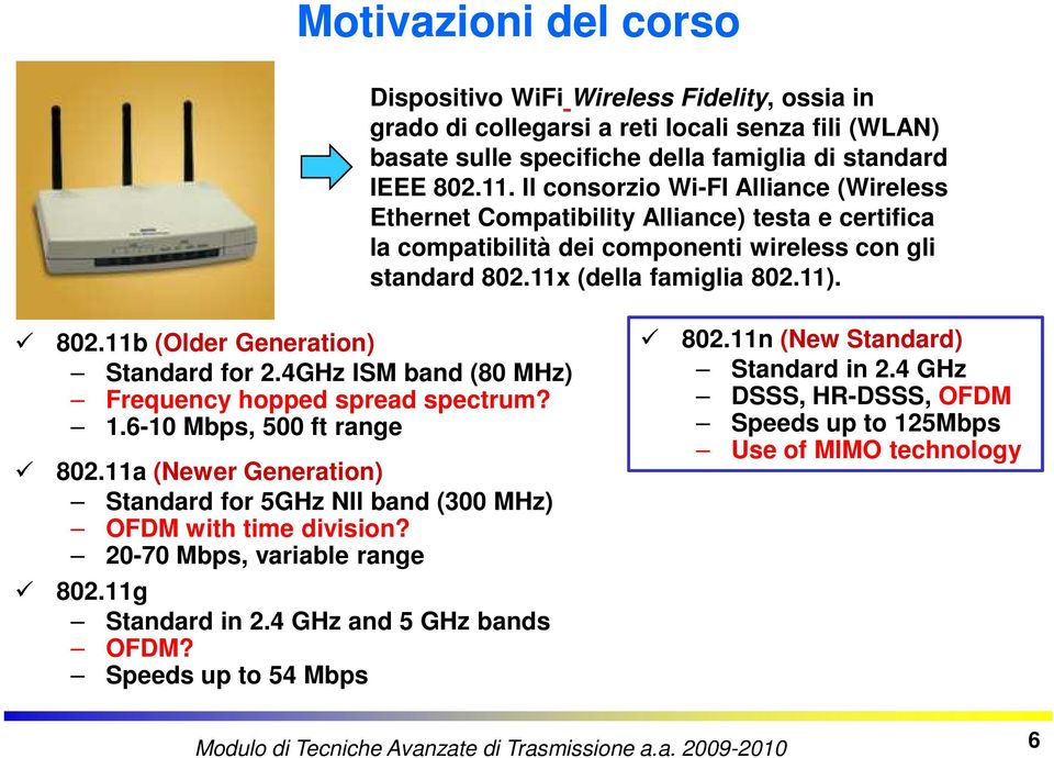 4GHz ISM band (80 MHz) Frequency hopped spread spectrum? 1.6-10 Mbps, 500 ft range 802.11a (Newer Generation) Standard for 5GHz NII band (300 MHz) OFDM with time division?
