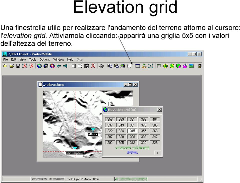 cursore: l'elevation grid.