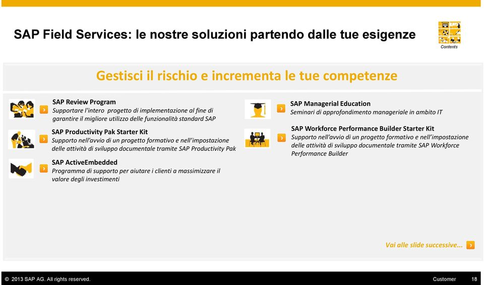 ActivEmbddd Programma di supporto pr aiutar i clinti a massimizzar il valor dgli invstimnti SAP Managrial Education Sminari di approfondimnto managrial in ambito IT SAP Workforc Prformanc Buildr