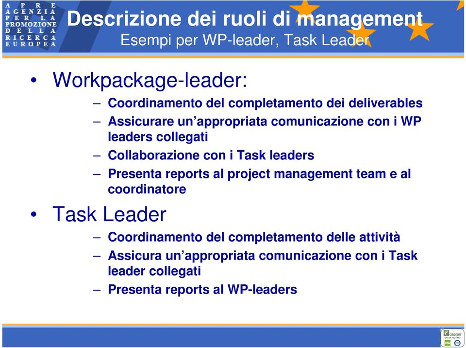con i Task leaders Presenta reports al project management team e al coordinatore Task Leader Coordinamento del