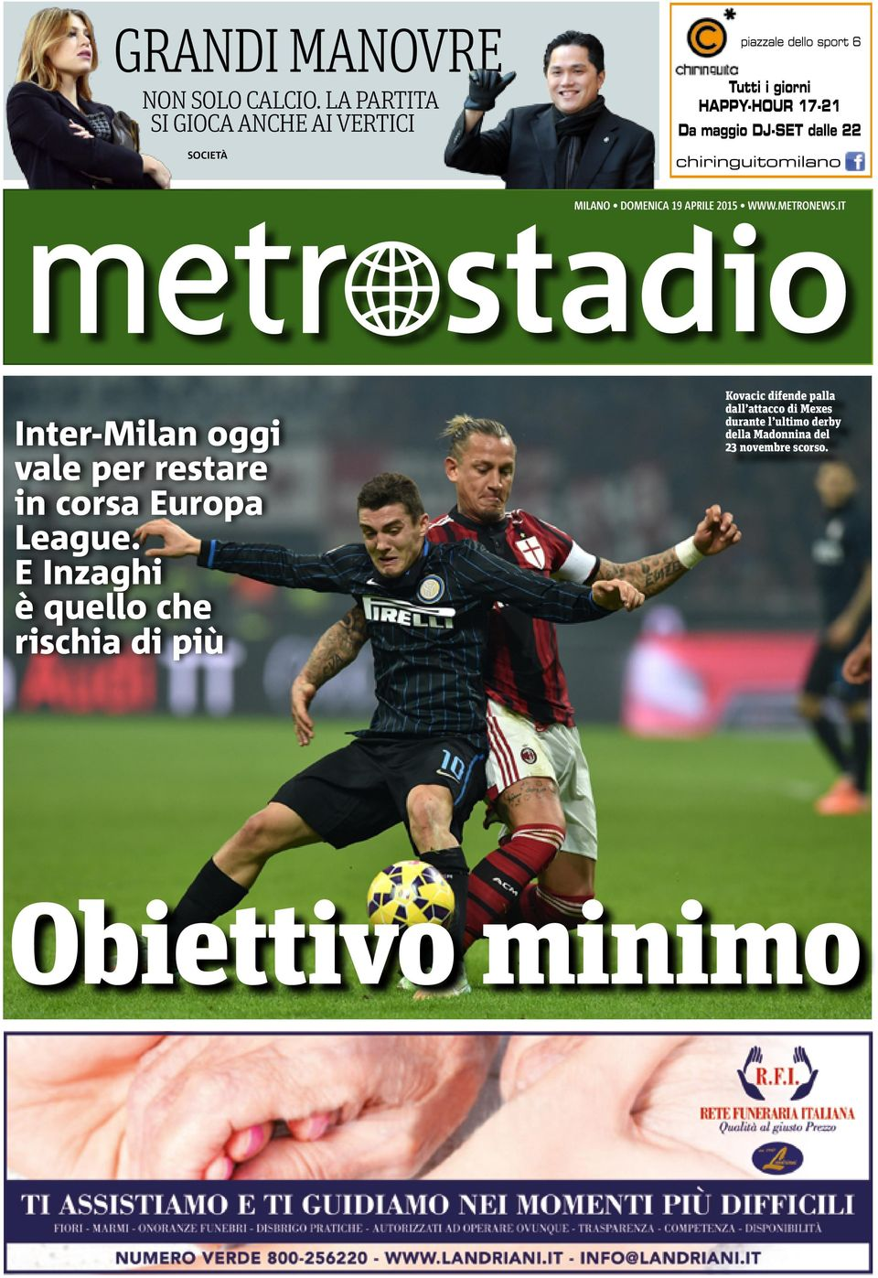 METRONEWS.IT Inter-Milan oggi vale per restare in corsa Europa League.