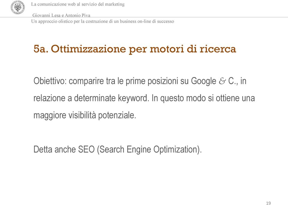 , in relazione a determinate keyword.