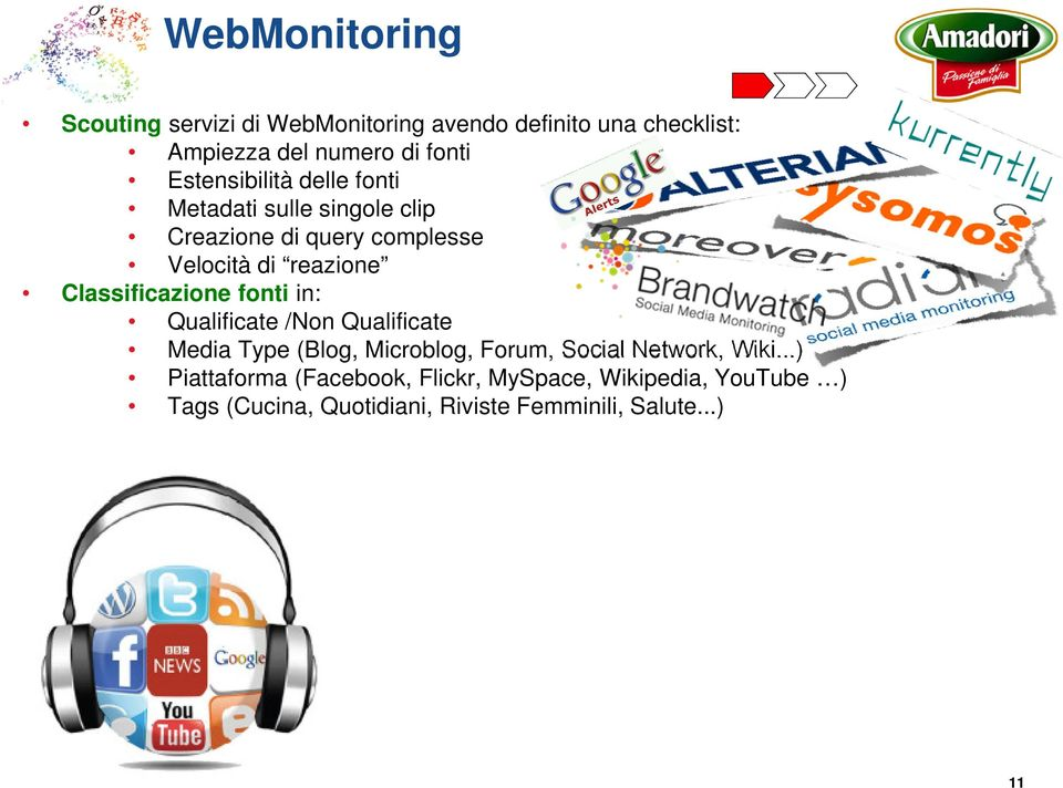 Classificazione fonti in: Qualificate /Non Qualificate Media Type (Blog, Microblog, Forum, Social Network, Wiki.