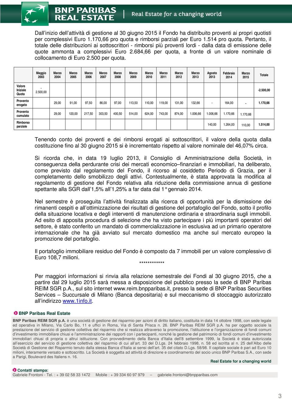 684,66 per quota, a fronte di un valore nominale di collocamento di Euro 2.500 per quota.