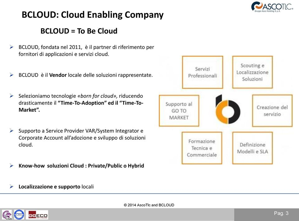 Selezioniamo tecnologie «born for cloud», riducendo drasticamente il Time-To-Adoption ed il Time-To- Market.