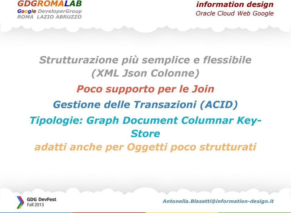Transazioni (ACID) Tipologie: Graph Document