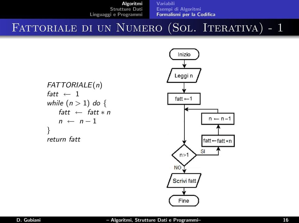 Iterativa) - 1 FATTORIALE(n) fatt 1 while (n > 1) do
