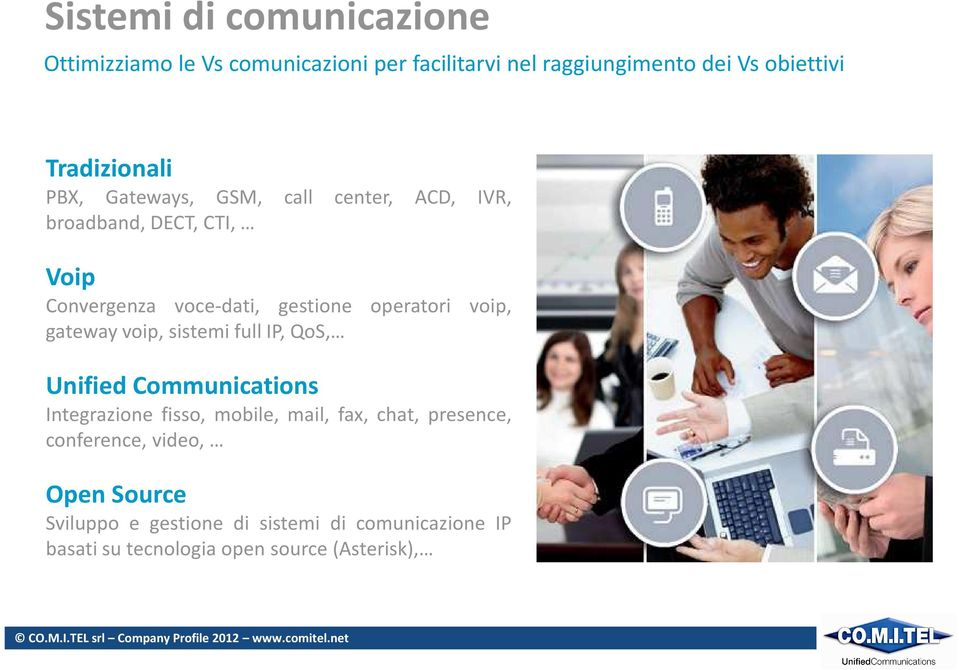 operatori voip, gateway voip, sistemi full IP, QoS, Unified Communications Integrazione fisso, mobile, mail, fax, chat,