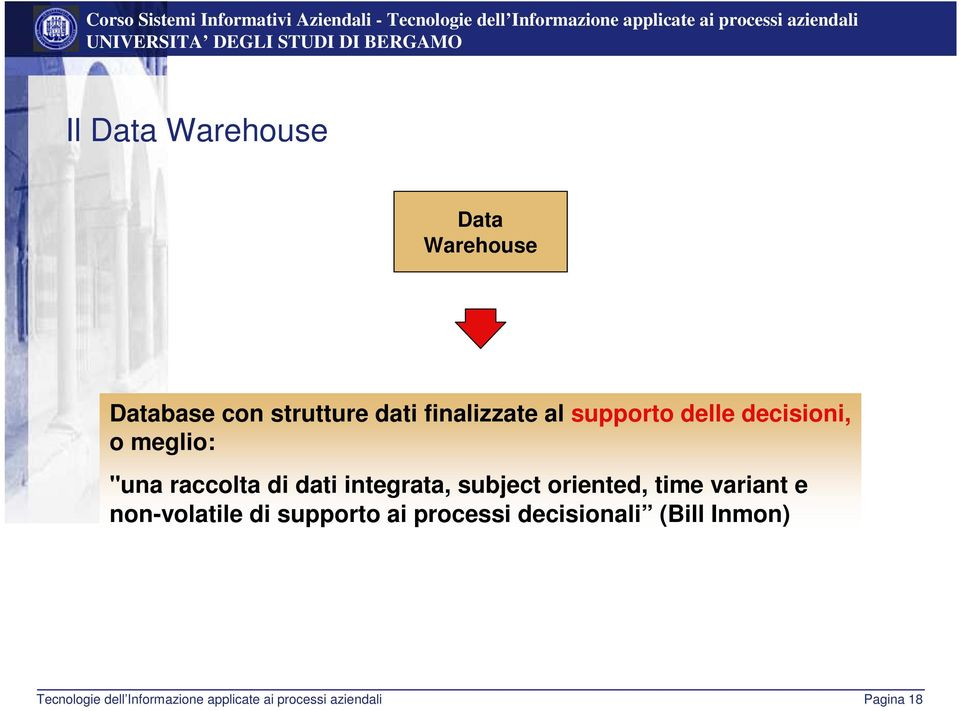 "meglio: ""una raccolta di dati integrata, subject oriented, time variant"