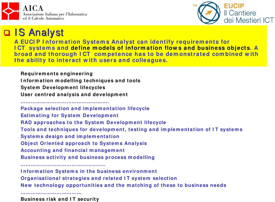 Requirements engineering Information modelling techniques and tools System Development lifecycles User centred analysis and development.