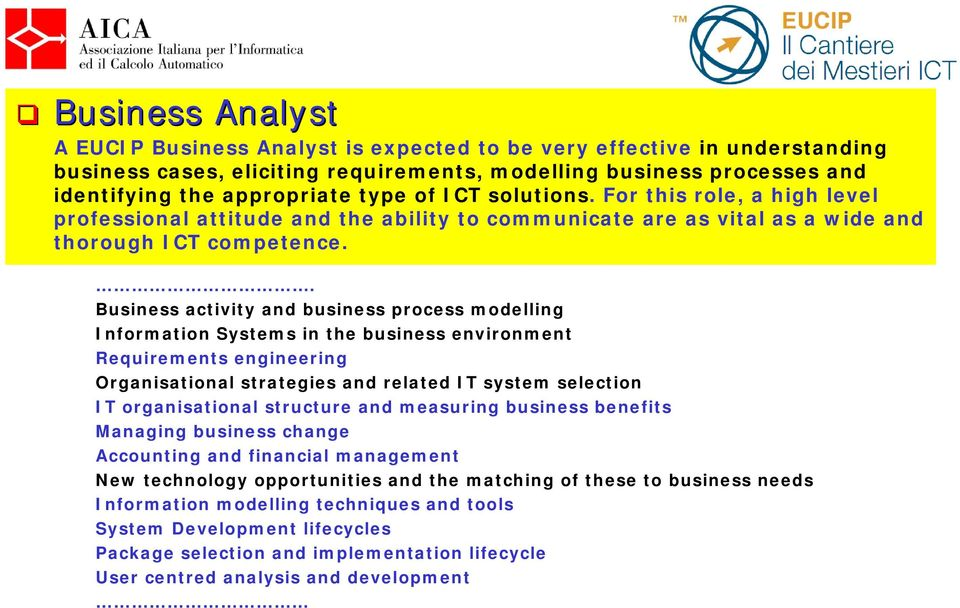 . Business activity and business process modelling Information Systems in the business environment Requirements engineering Organisational strategies and related IT system selection IT organisational