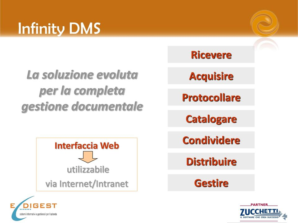 utilizzabile via Internet/Intranet Acquisire