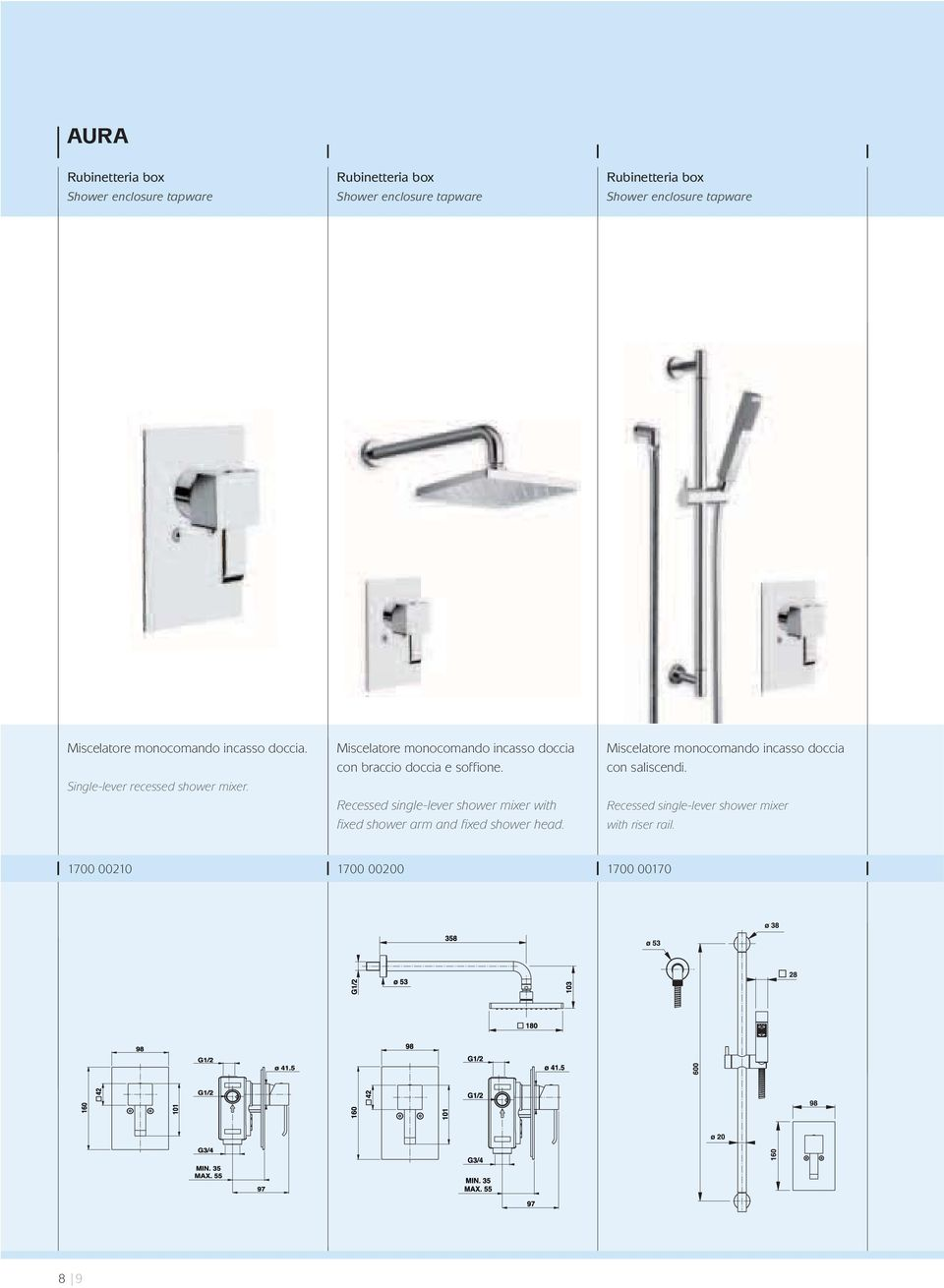 Recessed single-lever shower mixer with fixed shower arm and fixed shower head.