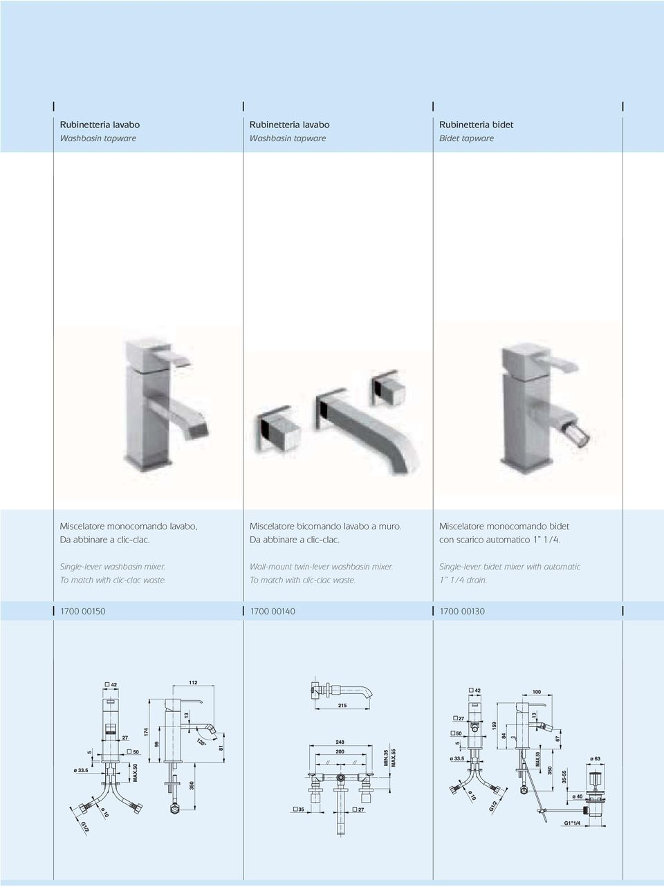 Single-lever washbasin mixer. To match with clic-clac waste. Wall-mount twin-lever washbasin mixer.