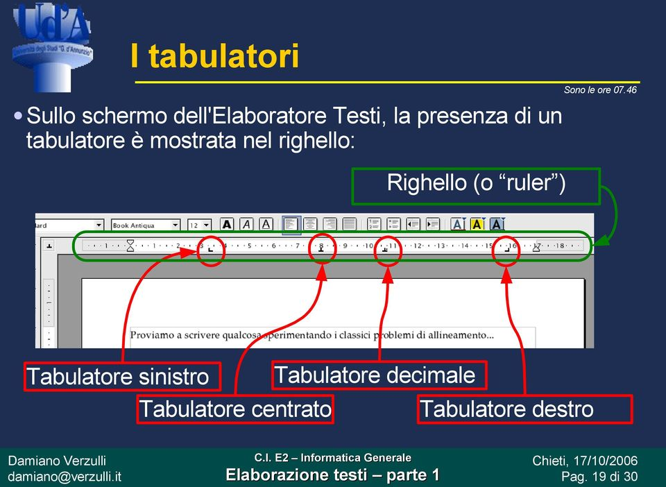 Righello (o ruler ) Tabulatore sinistro Tabulatore