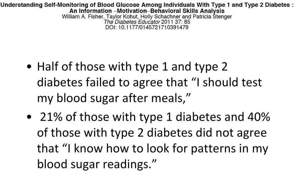 type 1 diabetes and 40% of those with type 2 diabetes did not