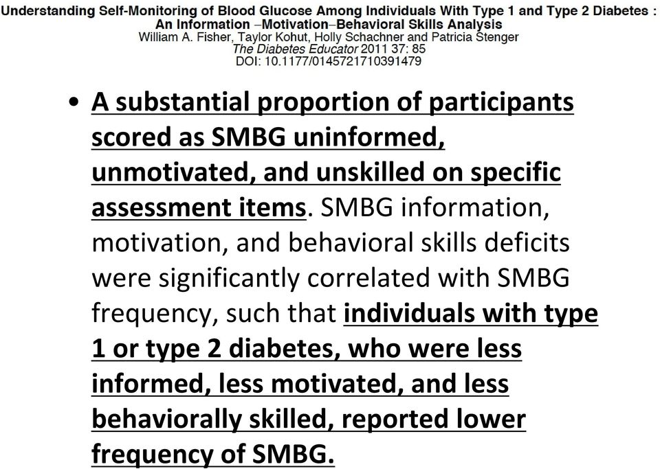 SMBG information, motivation, and behavioral skills deficits were significantly correlated with