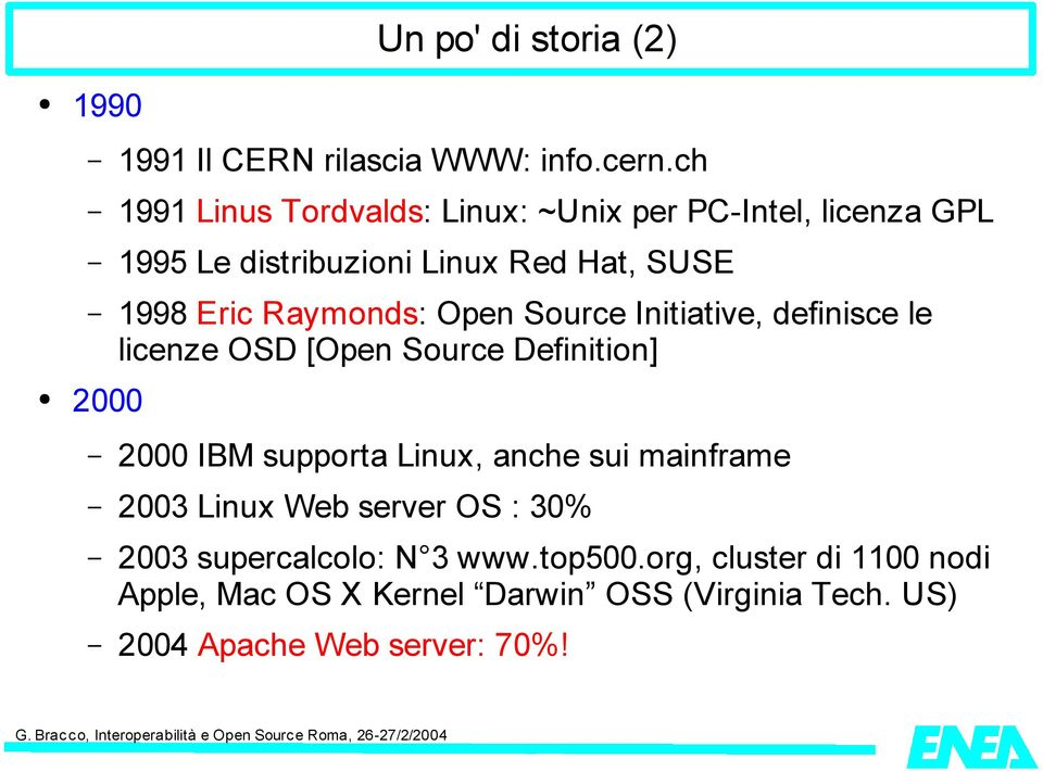 Raymonds: Open Source Initiative, definisce le licenze OSD [Open Source Definition] 2000 2000 IBM supporta Linux, anche