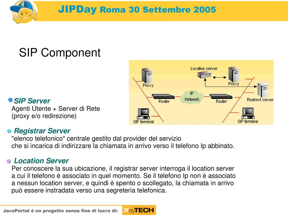 Location Server Per conoscere la sua ubicazione, il registrar server interroga il location server a cui il telefono è associato in quel
