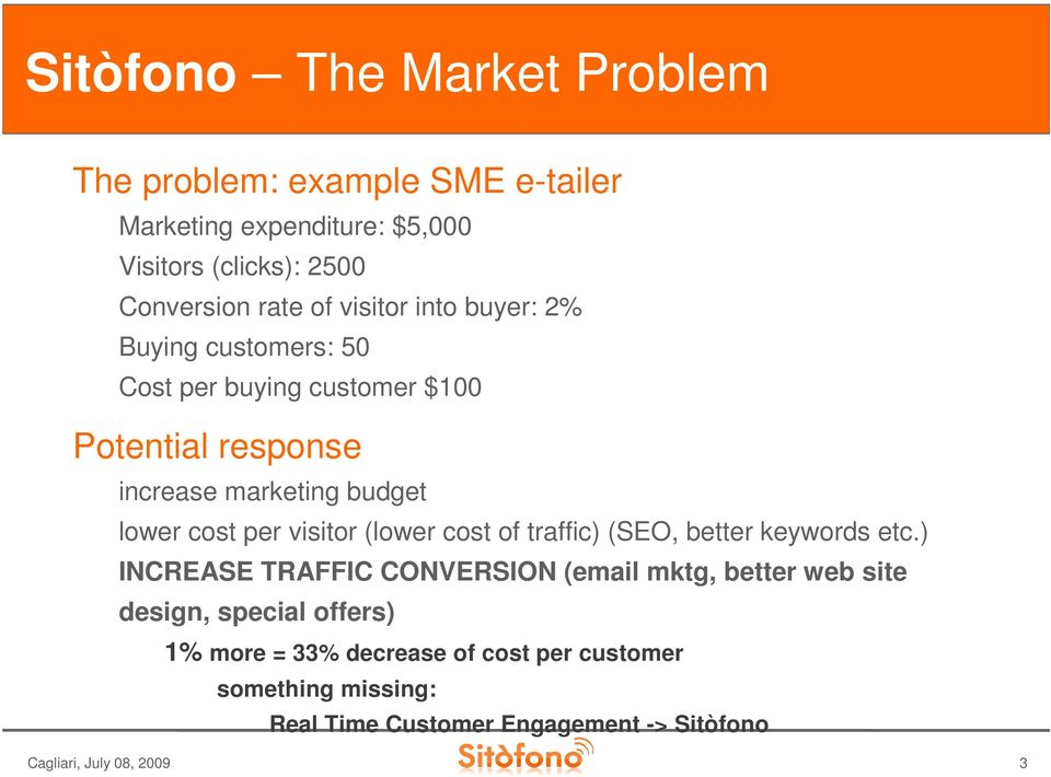 visitor (lower cost of traffic) (SEO, better keywords etc.