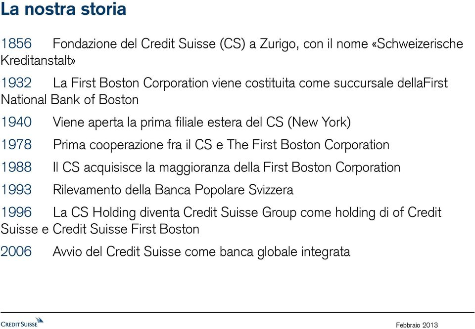 CS e The First Boston Corporation 1988 Il CS acquisisce la maggioranza della First Boston Corporation 1993 Rilevamento della Banca Popolare Svizzera 1996