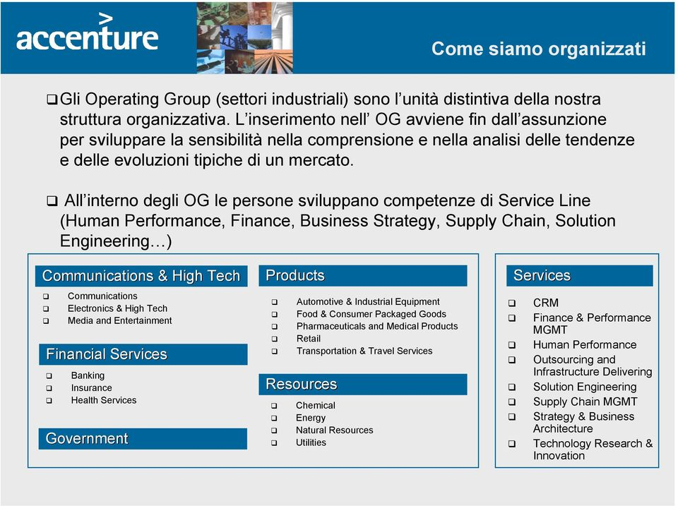 All interno degli OG le persone sviluppano competenze di Service Line (Human Performance, Finance, Business Strategy, Supply Chain, Solution Engineering ) Communications & High Tech Communications