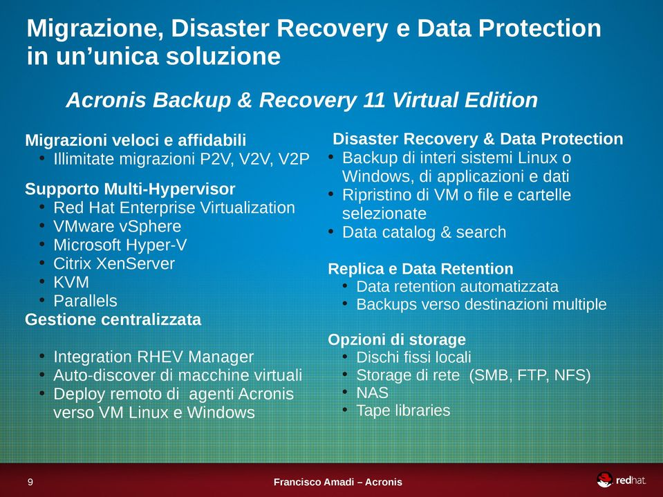 Deploy remoto di agenti Acronis verso VM Linux e Windows 9 Disaster Recovery & Data Protection Backup di interi sistemi Linux o Windows, di applicazioni e dati Ripristino di VM o file e cartelle