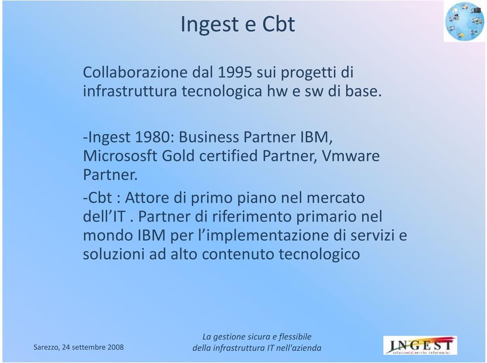 Ingest 1980: Business Partner IBM, Micrososft Gold certified Partner, Vmware Partner.
