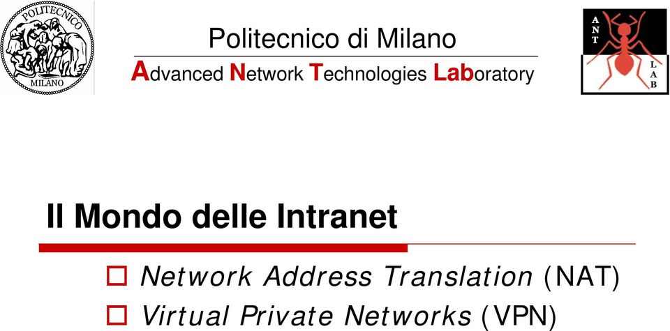 Mondo delle Intranet Network Address
