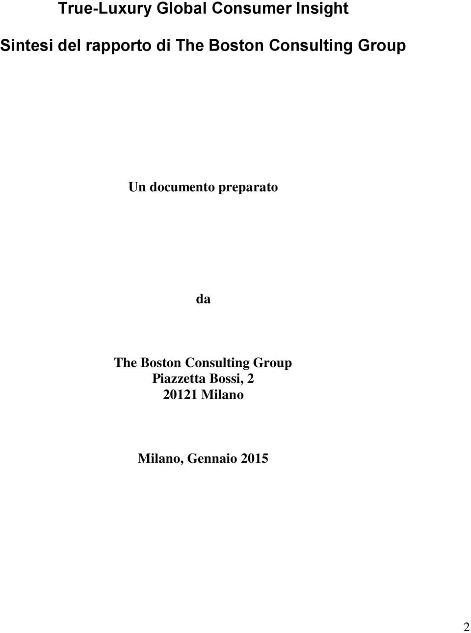 documento preparato da The Boston Consulting