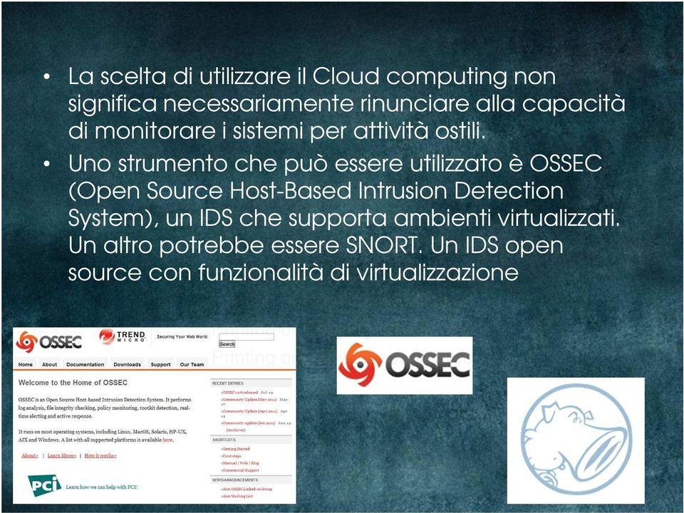 Uno strumento che può essere utilizzato è OSSEC (Open Source Printing Host-Based or Copying Intrusion not allowed Detection