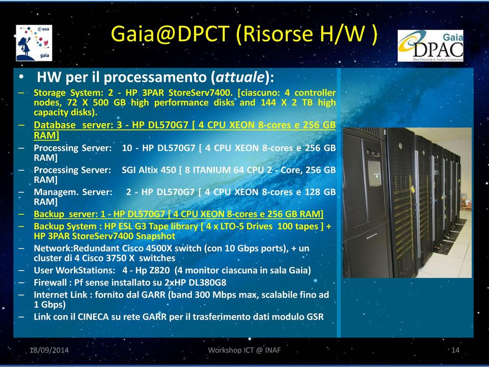 Database server: 3 - HP DL570G7 [ 4 CPU XEON 8-cores e 256 GB RAM] Processing Server: 10 - HP DL570G7 [ 4 CPU XEON 8-cores e 256 GB RAM] Processing Server: RAM] SGI Altix 450 [ 8 ITANIUM 64 CPU 2 -