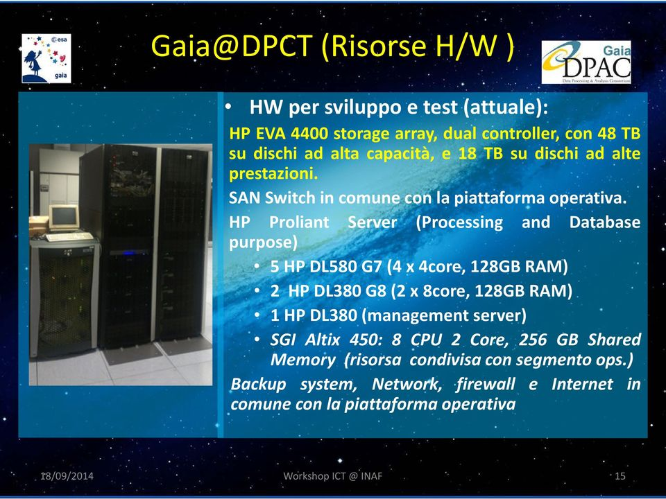 HP Proliant Server (Processing and Database purpose) 5 HP DL580 G7 (4 x 4core, 128GB RAM) 2 HP DL380 G8 (2 x 8core, 128GB RAM) 1 HP DL380