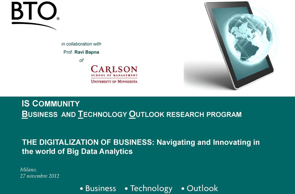 OUTLOOK RESEARCH PROGRAM THE DIGITALIZATION OF