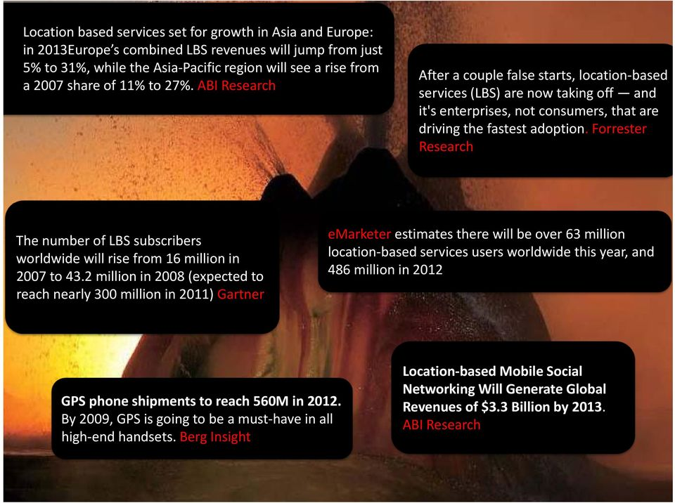 Forrester Research The number of LBS subscribers worldwide will rise from 16 million in 2007 to 43.