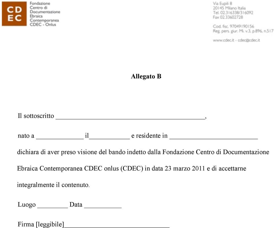 Documentazione Ebraica Contemporanea CDEC onlus (CDEC) in data 23