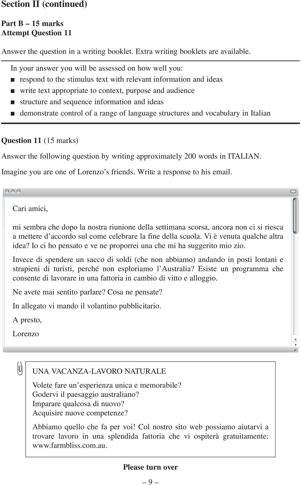 information and ideas demonstrate control of a range of language structures and vocabulary in Italian Question 11 (15 marks) Answer the following question by writing approximately 200 words in