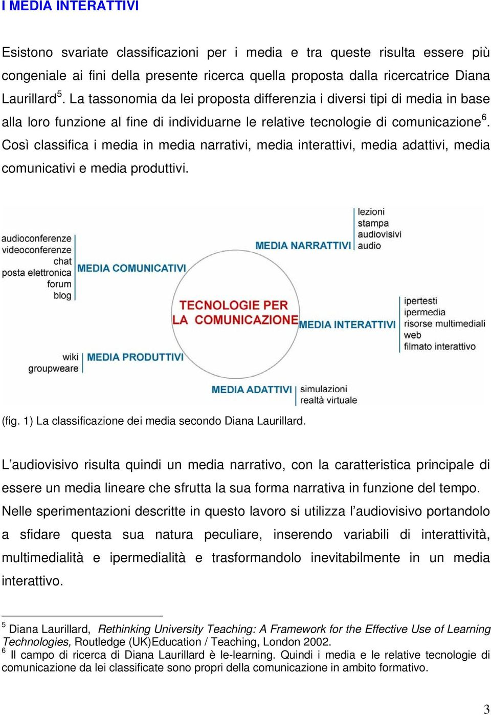 Così classifica i media in media narrativi, media interattivi, media adattivi, media comunicativi e media produttivi. (fig. 1) La classificazione dei media secondo Diana Laurillard.