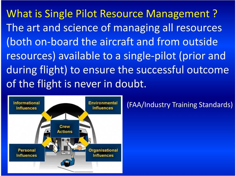 and from outside resources) available to a single-pilot (prior and during