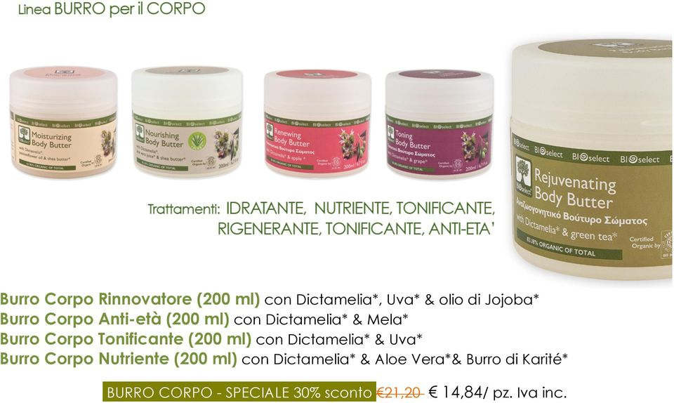 ml) con Dictamelia* & Uva* Burro Corpo Nutriente (200 ml) con Dictamelia* &
