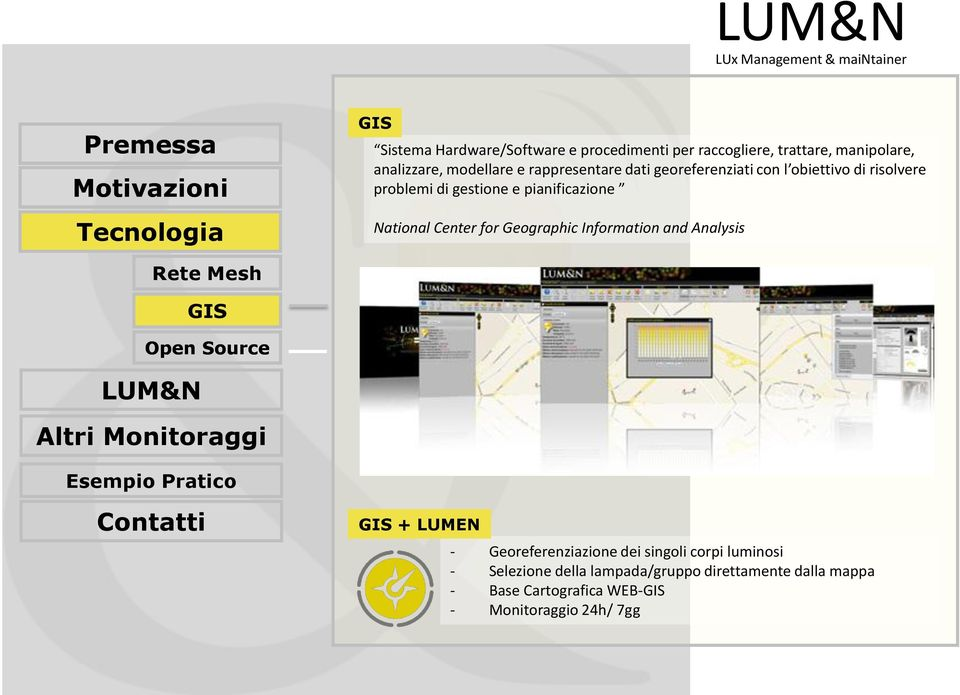 Center for Geographic Information and Analysis Rete Mesh GIS Open Source GIS + LUMEN - Georeferenziazione dei