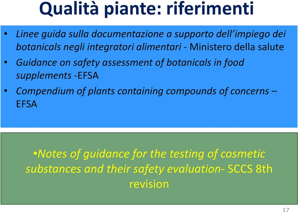 of botanicals in food supplements -EFSA Compendium of plants containing compounds of concerns