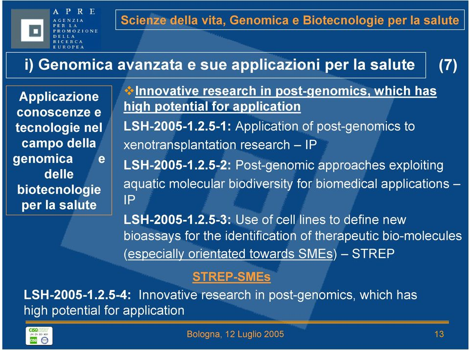 05-1.2.5-1: Application of post-genomics to xenotransplantation research IP LSH-2005-1.2.5-2: Post-genomic approaches exploiting aquatic molecular biodiversity for biomedical applications IP LSH-2005-1.
