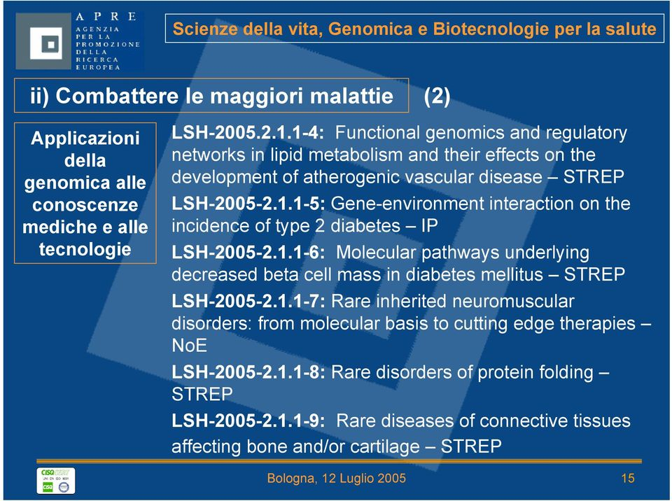 1.1-6: Molecular pathways underlying decreased beta cell mass in diabetes mellitus STREP LSH-2005-2.1.1-7: Rare inherited neuromuscular disorders: from molecular basis to cutting edge therapies NoE LSH-2005-2.