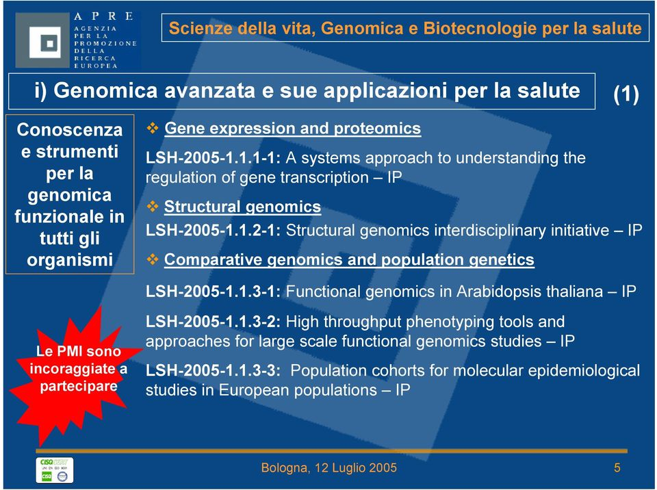 1.3-1: Functional genomics in Arabidopsis thaliana IP Le PMI sono incoraggiate a partecipare LSH-2005-1.1.3-2: High throughput phenotyping tools and approaches for large scale functional genomics studies IP LSH-2005-1.