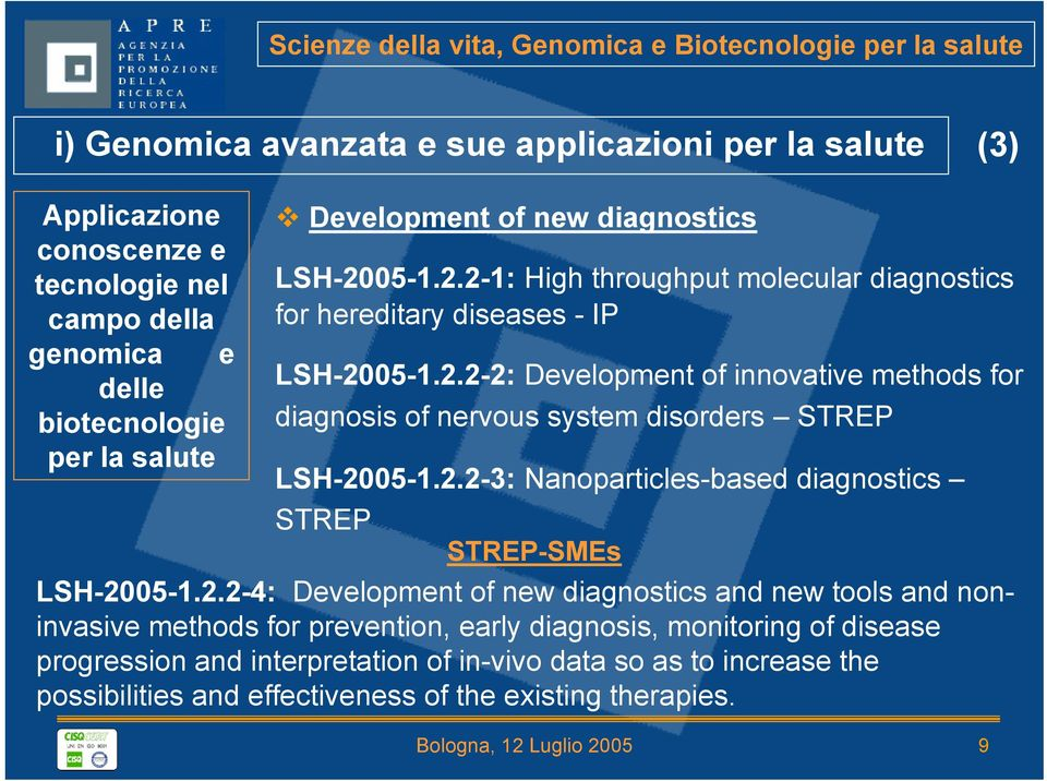 2.2-3: Nanoparticles-based diagnostics STREP STREP-SMEs LSH-2005-1.2.2-4: Development of new diagnostics and new tools and noninvasive methods for prevention, early diagnosis, monitoring of